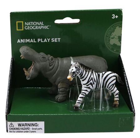 Set 2 figurine - Hipopotam si Zebra