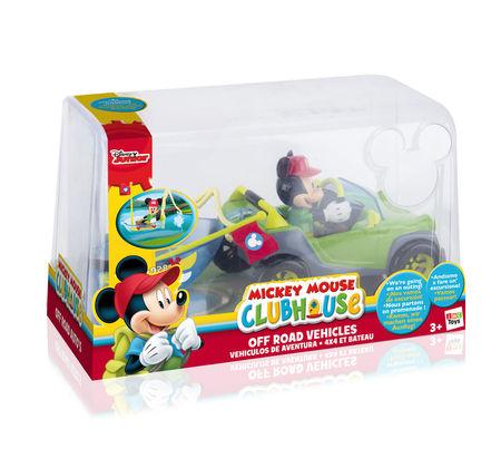 Vehicul de teren 4X4 cu barcă si figurină Mickey Mouse articulată