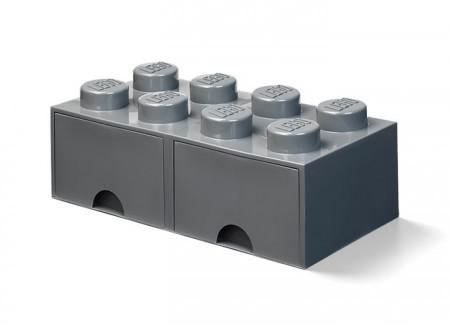 Cutie depozitare LEGO 2x4 cu sertare, gri inchis (40061754)