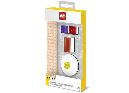 Set LEGO cu 4 creioane, 2 topper, 1 ascutitoare, 1 radiera (52