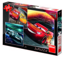 Puzzle 3 in 1 - Cars 3: Cursa cea mare (55 piese)