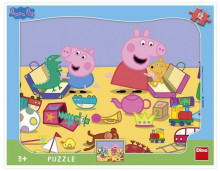 Puzzle cu rama - La joaca cu Peppa Pig (12 piese)