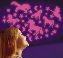 Set reflectorizant cu sclipici - Stele si unicorni