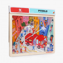 Puzzle din lemn - Pompieri in actiune