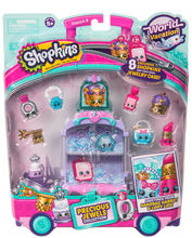 Shopkins, mini dulciuri asortate si carucior, 8 figurine Purple