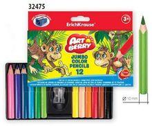 Set 12 creioane colorate scurte Jumbo