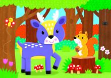 Set 4 puzzle-uri - Animalute din padure (2, 3, 4, 5 piese)