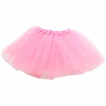 Fusta tutu pentru fetite, 3 straturi tul, 35 cm, Roz