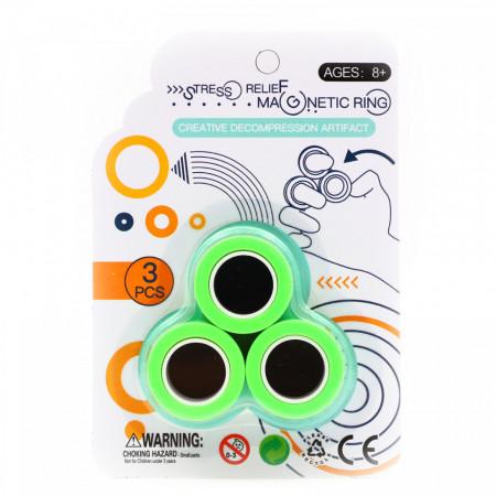 Set 3 inele magnetice antistres, Verde
