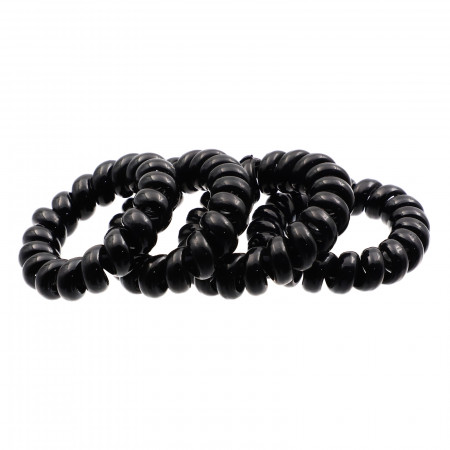 Set 4 buc, elastice de par, tip fir de telefon, 4 cm, Negru