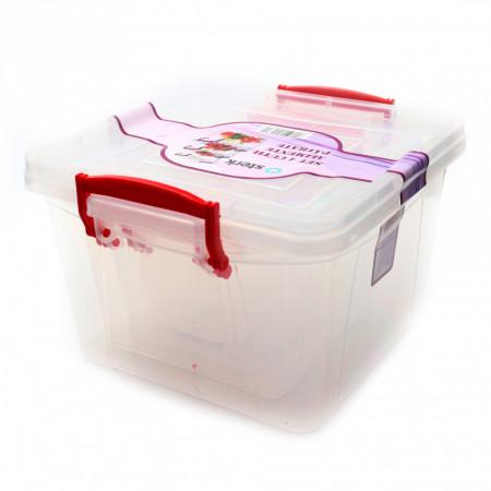 Set 4 cutii alimentare patrate, Plastic, 0.3L,0.6L,1,5L,3L