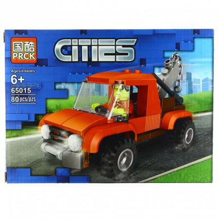 Set de constructie, tip City Action, Macara de pompieri, 80 piese