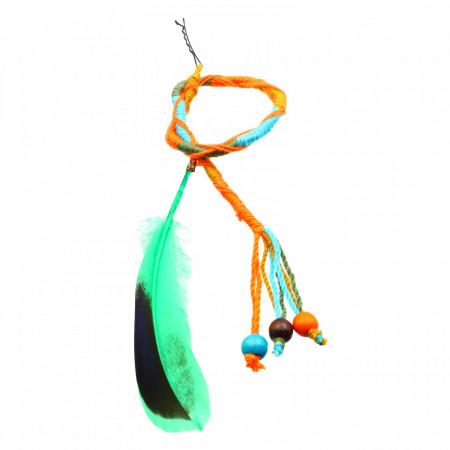 Suvite colorate impletite cu pana verde si margele, 42 cm