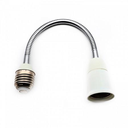 Adaptor fasung bec, E27-E27, Alb, 30 cm
