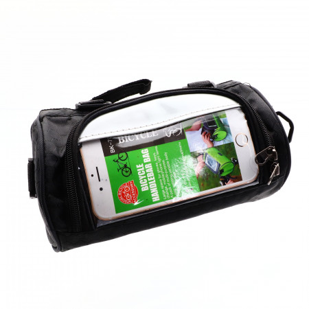Borseta pentru bicicleta, cu buzunar superior pentru telefon, impermeabil, 22 x 13 cm, Negru