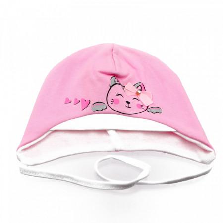 Caciula pentru fetite, cu imprimeu pisicuta, marime 40, +12 luni, Roz deschis