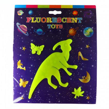 Decoratiune pentru camera copilului, Dinozaur fosforescent cu fluture si frunza, Galben