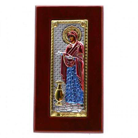 Icoana Maica Domnului, Sporul Casei, argintata 925, lemn, 5x9 cm, Rosu