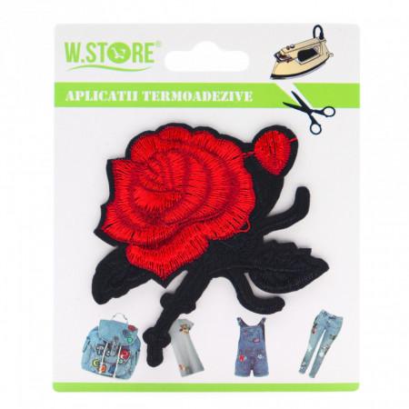 Petic textil / patch brodat trandafir rosu, 8 x 7.5 cm