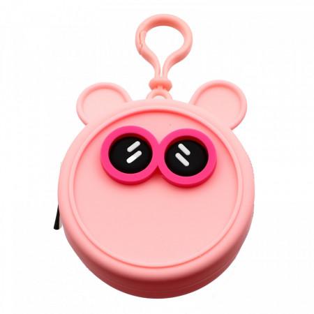 Portofel tip breloc, pentru maruntis, din silicon, model ochi, 8.5 x 3.5 cm, Roz