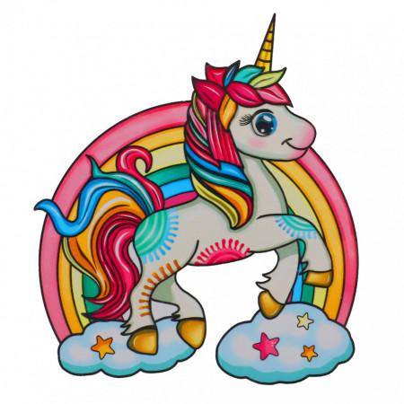 Puzzle Unicorn din lemn, Multicolor, 15 x 21 cm, 80 piese