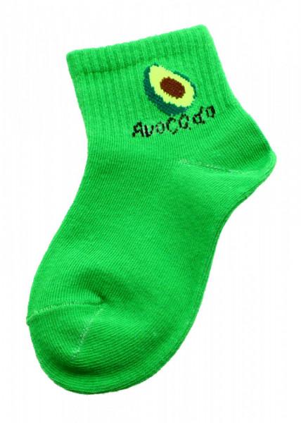 Set 2 bucati, Sosete pentru copii, cu imprimeu Avocado, 1-2 ani, Verde