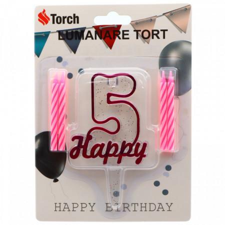 Set 4 buc, Lumanare aniversara,cu suport in forma de Cifra 5, pentru tort, Roz