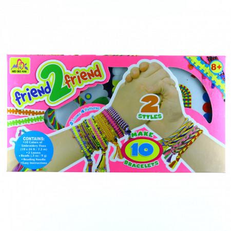 Set creativ de confectionat bratari cu margele si snur, Multicolor