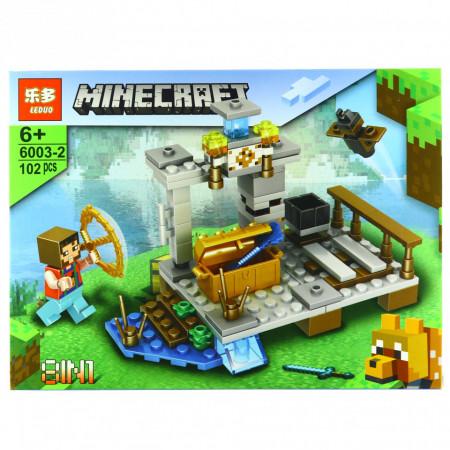 Set de constructie, tip Minecraft, Cufarul auriu cu unelte, 102 piese