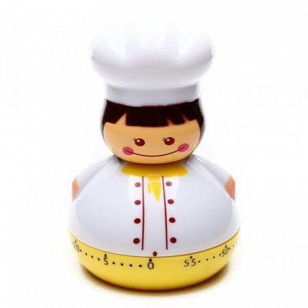 Timer mecanic de bucatarie, 60 minute, forma chef, Alb