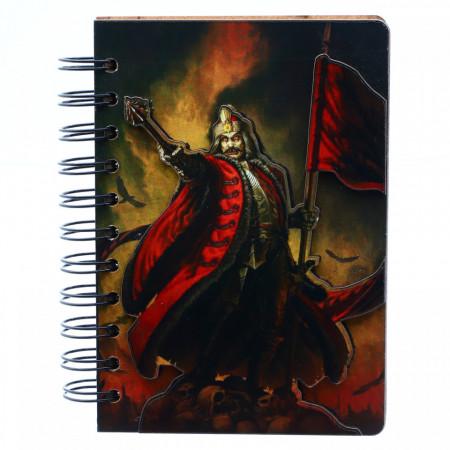 Agenda cu spirala, din lemn, Vlad Tepes Dracula cu steag pe cranii, 15 x 10,5 cm