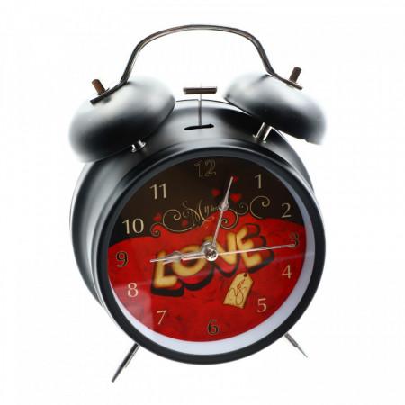 Ceas de masa cu alarma, Metalic, Negru