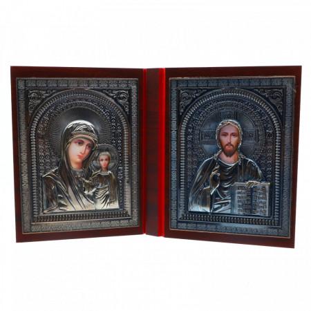 Icoana diptic / carte, Maica Domnului si Mantuitorul, lemn, 14.5 x 11.2 cm
