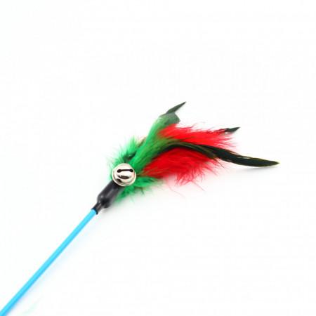 Jucarie pentru pisica cu pene si clopotel, Verde cu rosu, 62 cm