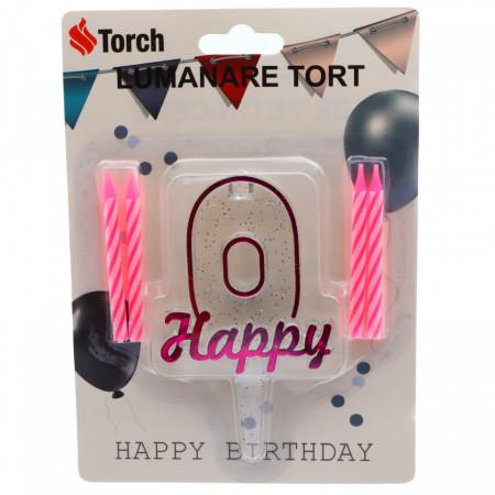 Set 4 buc, Lumanare aniversara,cu suport in forma de Cifra 0, pentru tort, Roz