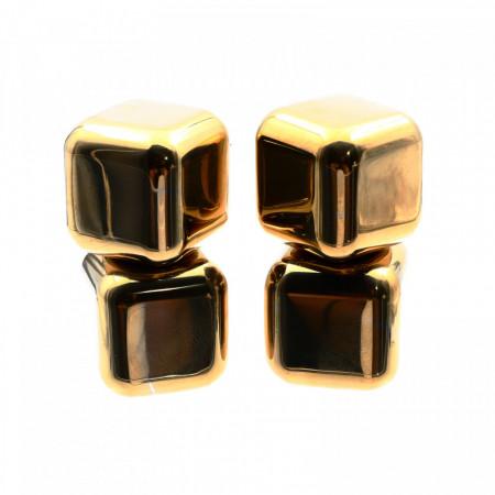 Set 4 cuburi din otel inoxidabil pentru racit bautura fara a pierde gustul, saculet pentru depozitare, auriu