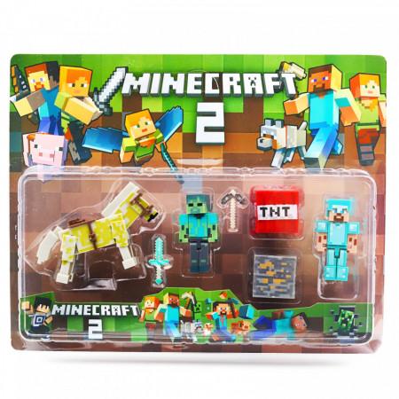 Set 7 accesorii si figurine tip Minecraft si calul urias