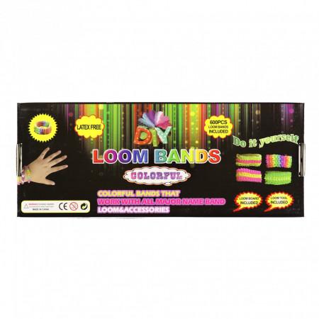 Set creativ cu accesorii pentru realizarea bratarilor din elastic, 600 piese, Multicolor