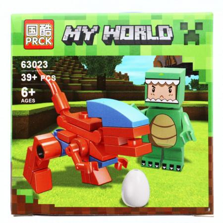 Set de constructie, Minecraft my world, Dinozaurul fioros, 39 piese