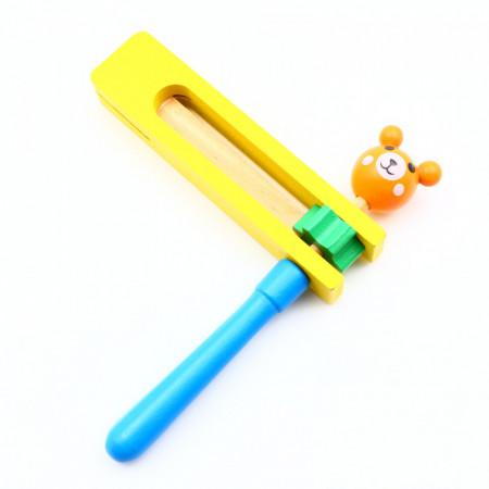 Zornaitoare din lemn, Fericitul zgomotos, Albastru cu galben, 16.5 cm