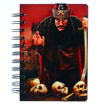 Agenda cu spirala, din lemn, Vlat Tepes Dracula pe cranii, 15 x 10,5 cm