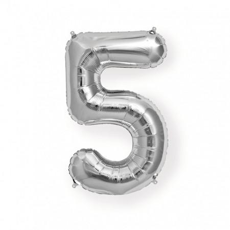 Balon din folie metalizata, 80 cm, cifra 5, Argintiu