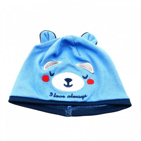 Caciula pentru copii, cu urechi si imprimeu ursulet, marime 40, Bleu cu Albastru