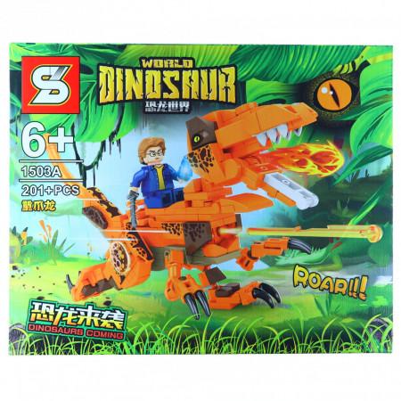 Joc de constructie, Lupta dusa calare pe dinozaurul in flacari, 201 piese