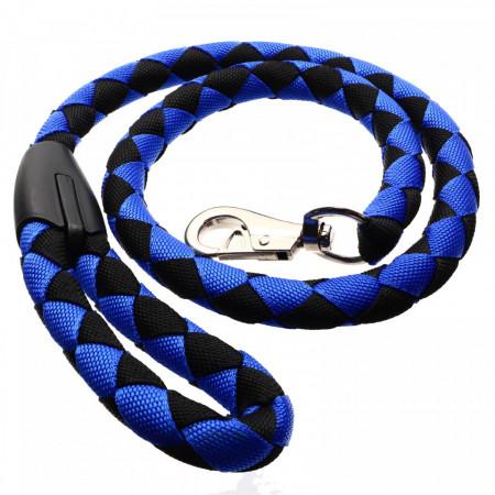 Lesa pentru caini de talie mare, 130 x 2.3 cm, Albastru cu negru