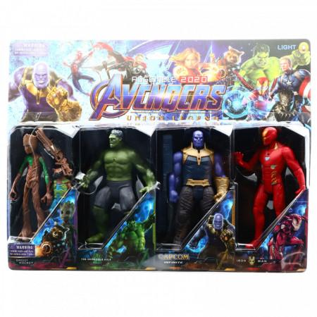 Set 4 Figurine Avengers, Iron Man, Thanos, Hulk, Groot