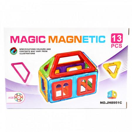 Set de constructie magnetic educativ si distractiv pentru copii - compune diferite forme geometrice 3D, 13 Piese
