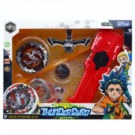 Jucarie lansator tip BeyBlade Thunder Gyro, Negru cu rosu