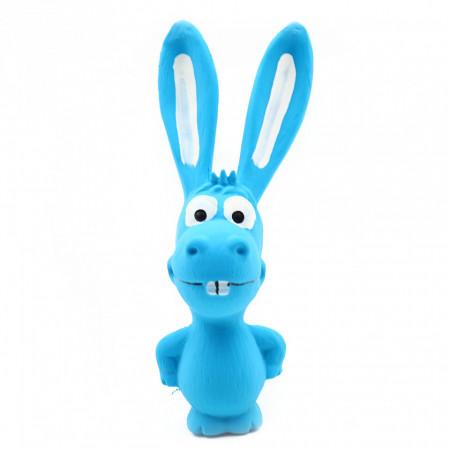 Jucarie pentru animale de companie, forma iepure, cu sunet, Albastru, 17 cm