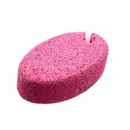 Piatra ponce, pentru ingrijire calcaie, model oval, 10.3 x 6 x 3 cm, Roz